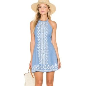 Tularosa embroidered chambray Otto low back dress